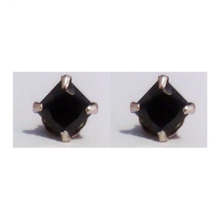 Pendientes Plata Piedra Negra Gótica