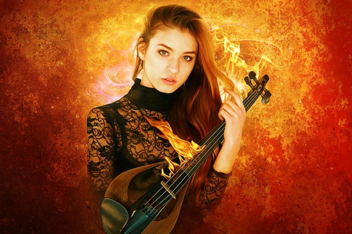 chica gótica con violin