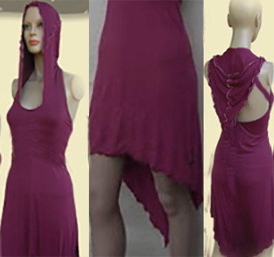 Vestido Capucha Hada Vino Tinto