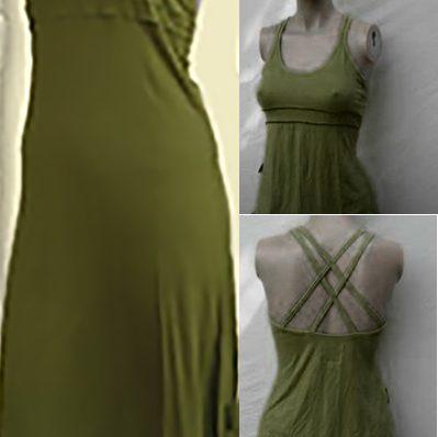 Vestido Hada Verde Oliva Tirantes Cruzados En La Espalda